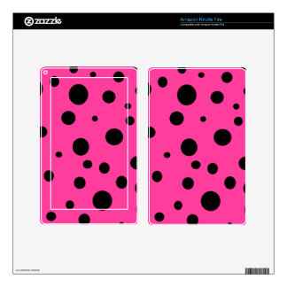 Hot Pink and Black Bubbles Polka Dots Fun Decal For Kindle Fire
