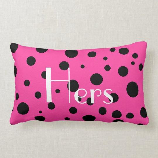 Hot Pink and Black Bubbles Polka Dots Fun Lumbar Pillow