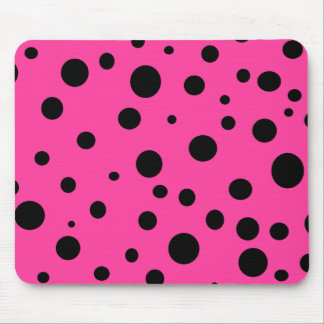 Hot Pink and Black Bubbles Polka Dots Fun Mouse Pad