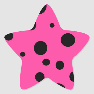 Hot Pink and Black Bubbles Polka Dots Fun Star Sticker