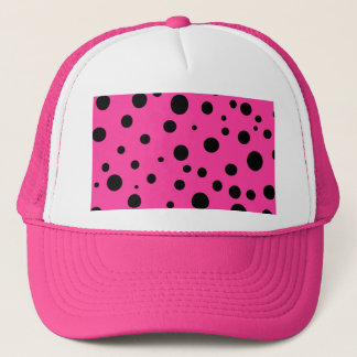 Hot Pink and Black Bubbles Polka Dots Fun Trucker Hat