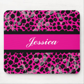 Hot Pink and Black Cheetah pattern Mouse Pad