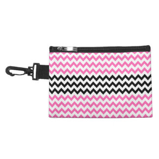 Hot Pink and Black Chevron by Shirley Taylor Accessory Bag