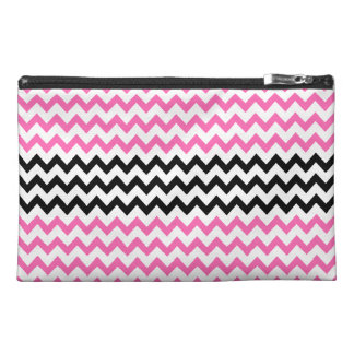 Hot Pink and Black Chevron by Shirley Taylor Travel Accessory Bag