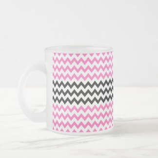 Hot Pink And Black Chevron Frosted Glass Coffee Mug