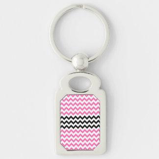 Hot Pink And Black Chevron Keychain