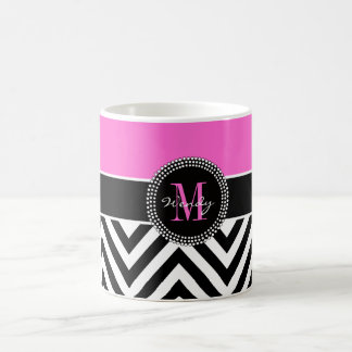 Hot Pink and Black Chevron Monogram Coffee Mug