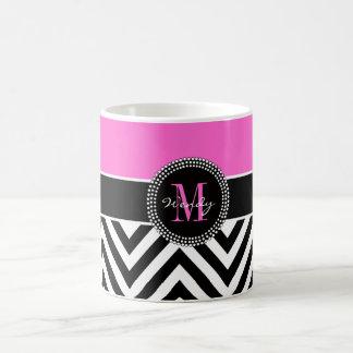 Hot Pink and Black Chevron Monogram Coffee Mug