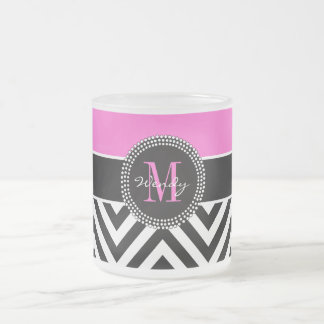 Hot Pink and Black Chevron Monogram Frosted Glass Coffee Mug