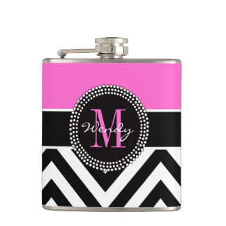 Hot Pink and Black Chevron Monogram Hip Flasks