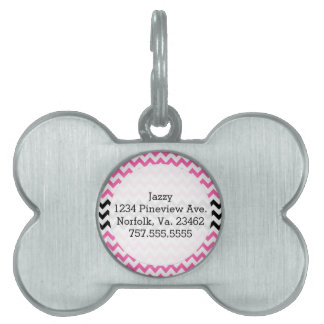 Hot Pink And Black Chevron Pet ID Tag