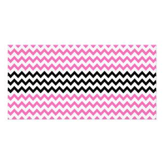 Hot Pink And Black Chevron Photo Card