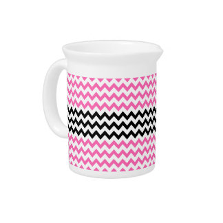 Hot Pink And Black Chevron Pitchers