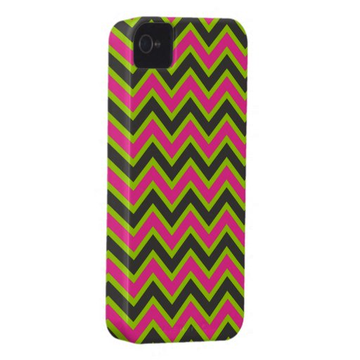 Hot Pink and Black Chevrons iPhone 4 Case-Mate Cases