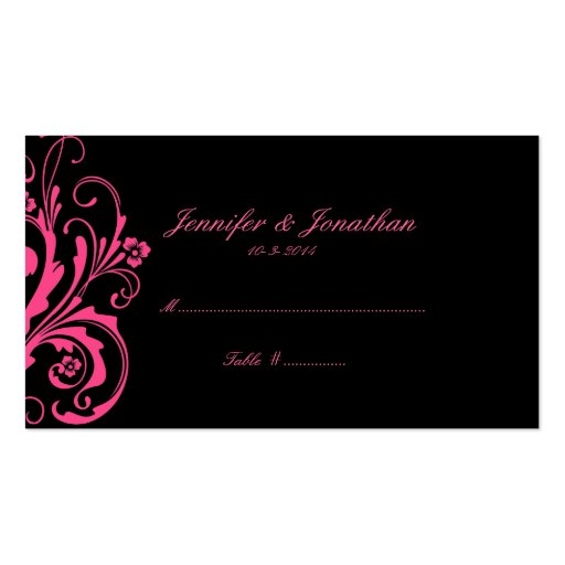 Hot Pink and Black Chic Seating Card Double-Sided Standard Business Cards (Pack Of 100)