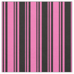[ Thumbnail: Hot Pink and Black Colored Lines/Stripes Pattern Fabric ]