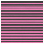 [ Thumbnail: Hot Pink and Black Colored Pattern of Stripes Fabric ]