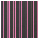 [ Thumbnail: Hot Pink and Black Colored Stripes Pattern Fabric ]