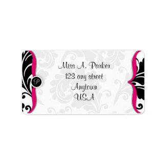 Hot Pink and black damask Address label