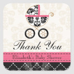 HOT PINK and Black Damask Baby Carriage Thank You Square Sticker