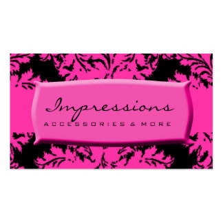 Hot Pink and Black Damask Business Card Templates