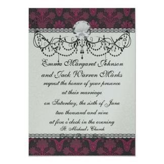 hot pink and black damask card