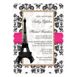 Hot Pink and Black Damask Eiffel Tower Wedding 5x7 Paper Invitation Card