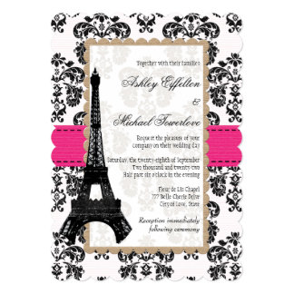 Hot Pink and Black Damask Eiffel Tower Wedding Card