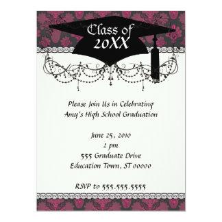 hot pink and black damask graduation card