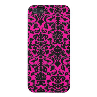 Hot pink and Black damask iphone 4 case