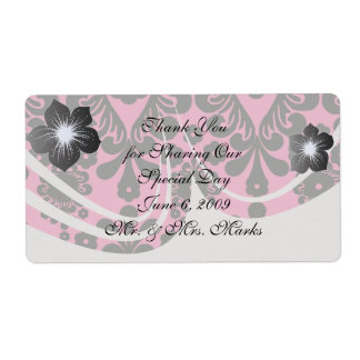 hot pink and black damask shipping label