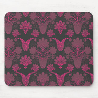 hot pink and black damask mouse pad