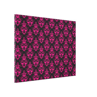 Hot Pink and Black Damask Pattern Gallery Wrap Canvas