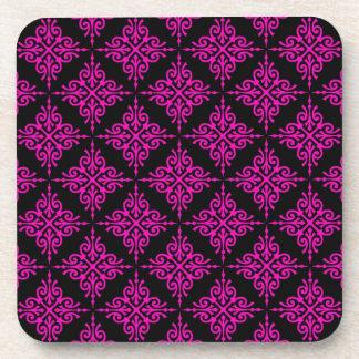 Hot Pink and Black Damask Pattern Coaster