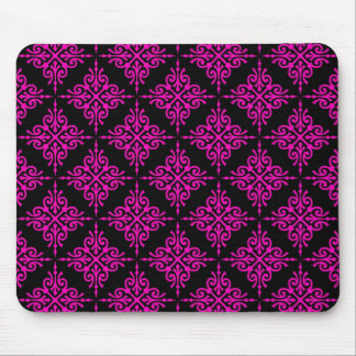 Hot Pink and Black Damask Pattern Mouse Pad