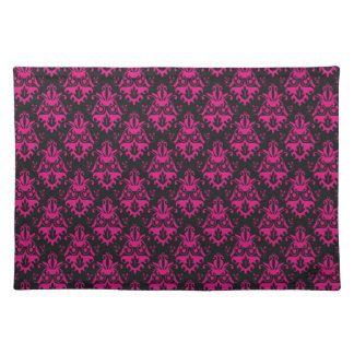 Hot Pink and Black Damask Pattern Placemat