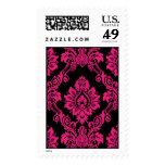 Hot Pink and Black Damask Postage Stamp