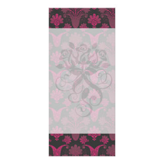 hot pink and black damask rack card template