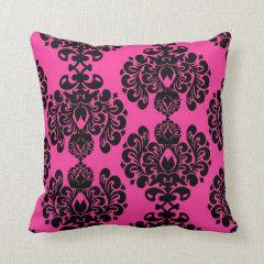 Hot Pink And Black Damask Throw Pillow