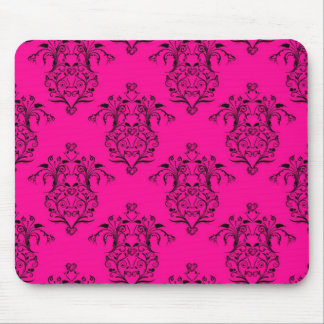 Hot Pink and Black Damask Vintage Style Pattern Mouse Pad
