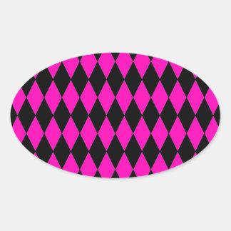 Hot Pink and Black Diamond Harlequin Pattern Oval Sticker