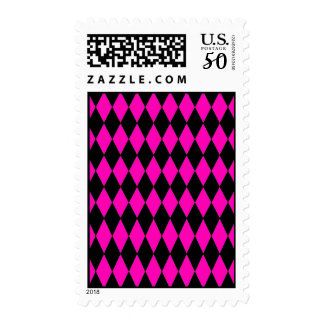 Hot Pink and Black Diamond Harlequin Pattern Postage