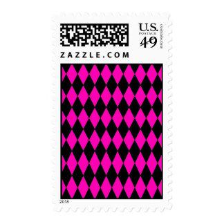 Hot Pink and Black Diamond Harlequin Pattern Postage Stamp