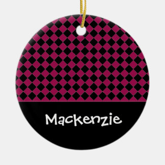 Hot Pink and Black Diamonds Custom Name Ceramic Ornament