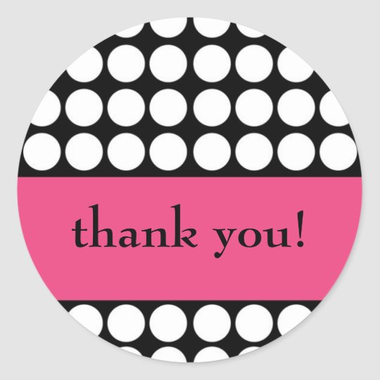 hot pink and black dot thank you classic round sticker
