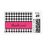 hot pink and black dot thank you postage