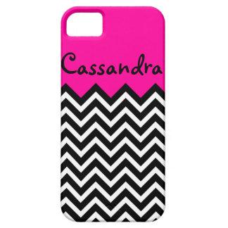 Hot Pink and Black Elegant Chevron Retro iPhone SE/5/5s Case