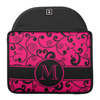 Hot Pink and Black Filigree Scroll with Monogram MacBook Pro Sleeve