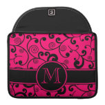 Hot Pink and Black Filigree Scroll with Monogram MacBook Pro Sleeves