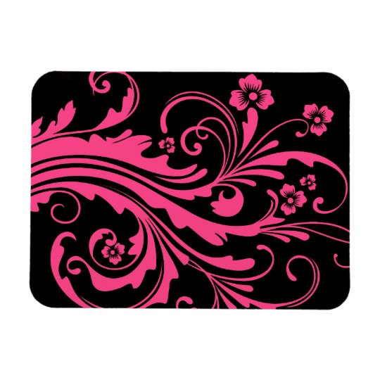 Hot Pink and Black Floral Chic Wedding Magnet